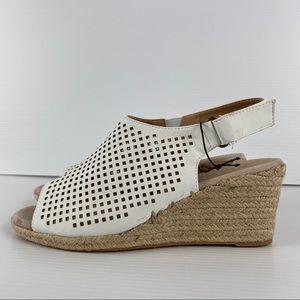 White Lasercut Espadrille Heel Wedge Shoes Size 9